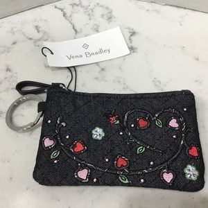 Vera Bradley Iconic Zip ID Case in DENIM NAVY NWT